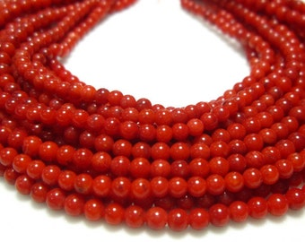 """AAA Red Coral Smooth Round Beads- 16.50"""" Strand -Stones measure- 3mm"""