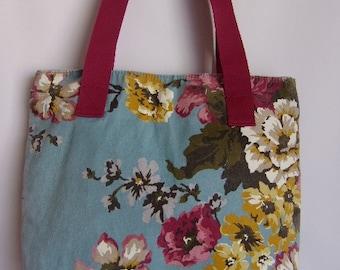 Vintage Women's Bag/Summer Denim Bag/Light Blue Purple Yellow Colors Bag/Flower Pattern/Beach Bag/With Lining