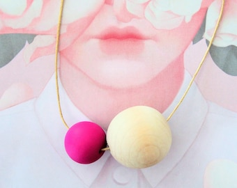The MOON COLLECTION - Handmade Polymer Clay Necklace - Colourful Moon (LGE)