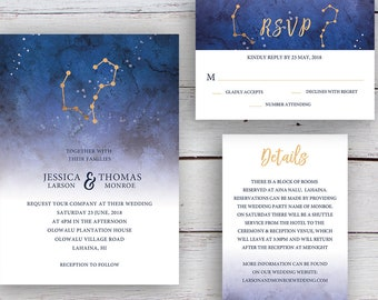 Written in the Stars, Invitation, RSVP, Details Card, Printable Templates, Star Signs, Aries, Aquarius, Gold