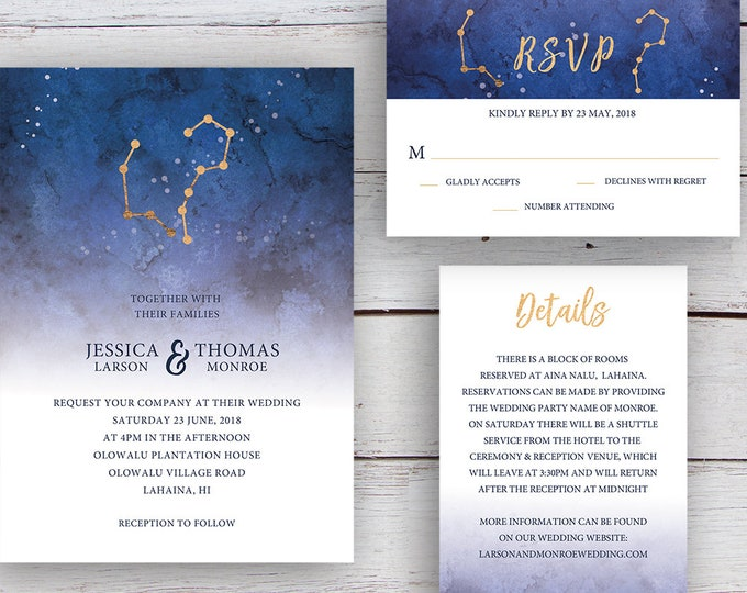 Featured listing image: Written in the Stars, Invitation, RSVP, Details Card, Printable Templates, Star Signs, Aries, Aquarius, Gold
