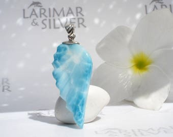 Larimar wing pendant by Larimarandsilver, Flying Siren - sky blue Larimar feathers, carved stone wing, Dominican Larimar jewelry 925 silver