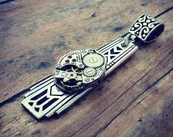 Steampunk Watch Movement Pendant, Silverware Jewelry, Art Deco Pendant, Steampunk Jewelry, Silver Pendant, Spoon Handle Pendant, Watch Gear