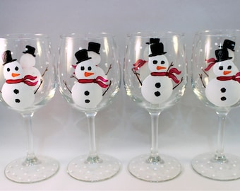 Snowman hand painted wine glasses, painted snowman glasses, holiday glassware,  set of 4