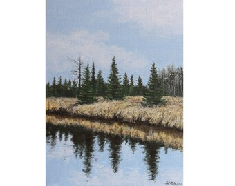 landscape painting, canadian painting, river landscape, 9x12 painting, original art, prairie painting, small landscape, acrylic painting