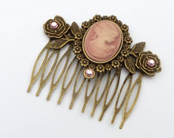 Hair comb with cameo and roses in pink bronze victorian hair ornament baroque rococo gift woman