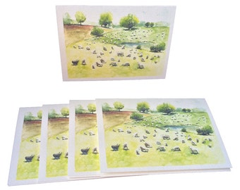 Spring Pastoral Sheep Note Cards