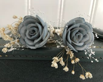 Dusty blue boutonniere, grooms flower, pin on sola wood flower, slate blue wedding flowers, groomsmen, ecoflower, wooden lapel flower
