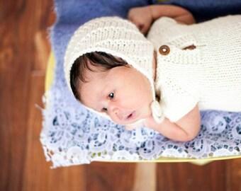 Cream Knit Prop Bonnet, Neutral Photography Prop, Newborn Bonnet, Newborn Photography Prop, Knit Bonnet, Newborn Prop Bonnet