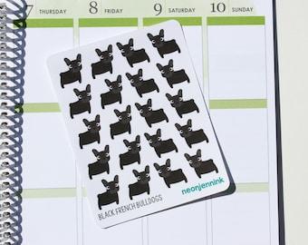 Black French Bulldog Stickers (Set of 20 Stickers)