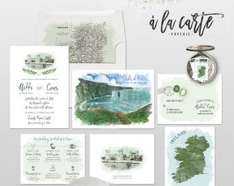 Ireland Dublin Cliffs of Moher Irish Destination Wedding Invitation - Illustrated Watercolor drawing European wedding -Deposit Payment