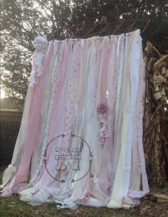 Shabby chic curtains vintage rachel ashwell fabric ribbon and for Shabby chic rhinestone shower hooks