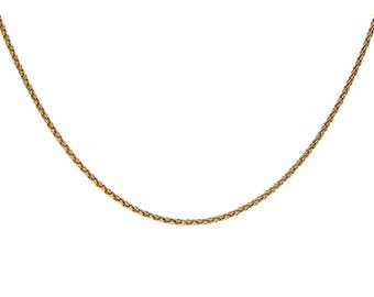 18K Yellow Gold Wheat Link Chain 18""
