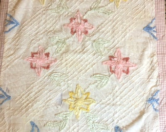Vintage white floral chenille REPURPOSED hand crafted quilted crib blanket SOFT and SWEET