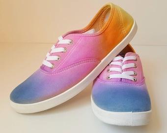 Tie Dye Shoes Size 9 / Canvas shoes / Handmade Shoes / Mens Canvas Shoes / Canvas Shoes Women