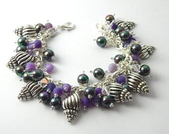 Shell Bracelet - Beach Jewelry - Charm Bracelet - Purple Bracelet - Christmas Gift - Beaded Bracelet - Gift for Her - Seashell Bracelet