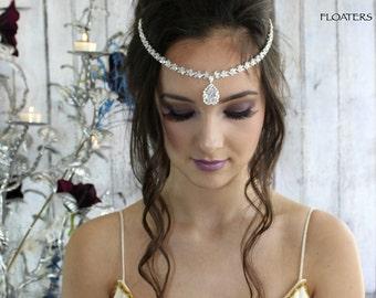 Bridal crystal headband, forehead headpiece, forehead jewelry, bridal hair accessories, cubic zirconia headpiece