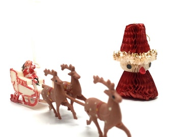 Vintage ornaments, Santa and Sleigh, Cake Topper, Accordion Paper Santa, 1950