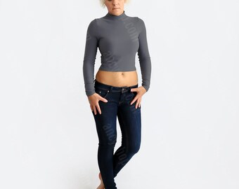Gray Crop Sweater, Crop Turtleneck, Long Sleeve Shirt, Grey Crop Top, Party Top, Minimalist Blouse, Cocktail Blouse, Casual Top, Womens Top