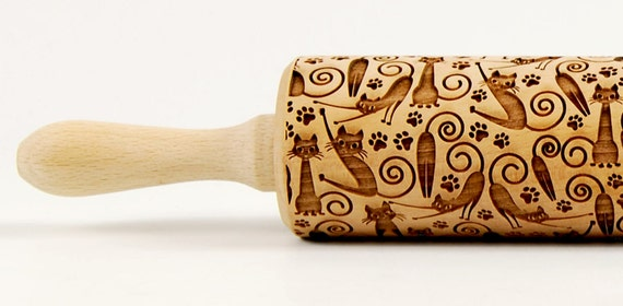 CATS No. 5 Embossing rolling pin Engraved rolling pin Funny cats