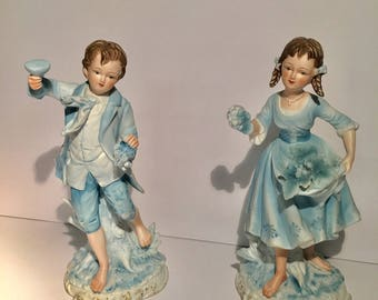 Hand Painted Vintage Blue Bisque Boy & Girl Holding Grapes # 7190 Andrea By Sedak Figurines