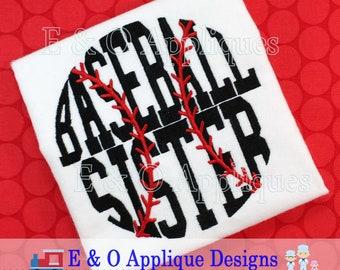 Baseball Sister Embroidery Design - Baseball Embroidery Design - Sister Embroidery Design - Digital Embroidery Design