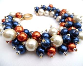 Navy Blue Burnt Orange and Ivory Pearl Beaded Bracelet, Wedding Jewelry, Bridesmaid Bracelet, Cluster Bracelet, Navy Blue Wedding Theme