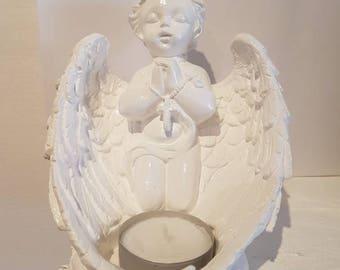 Angel Cherub, handcrafted candle holder