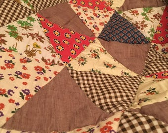 Vintage Quilt--Needs Finishing--hand Stitched--Needs Border--76 x 96""