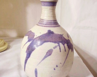 Listed Artist Marjorey Bankson Original Purple Pottery Vase