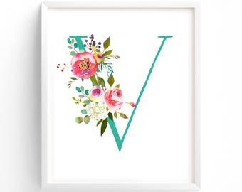 Nursery Prints, Printable Letter V Monogram, Floral, Flower Lettering, Nursery Art, Baby monogram