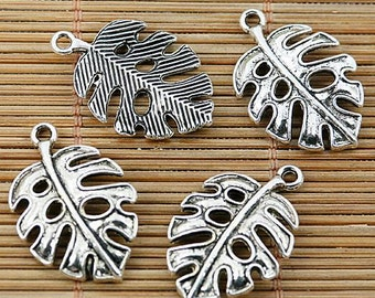 10pcs Tibetan silver plated hollow leaf charms EF2060