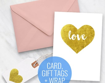 Printable Card, Gift Tags and Wrapping Paper Set - Gold Love Heart Design - Valentines Day - Gift Wrapping, printable stationery