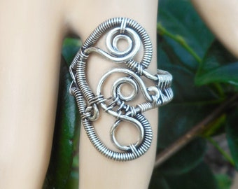 Silver wire wrapped ring, boho rings, unique silver rings, wire wrapped jewelry, cool rings, bohemian rings, wire wrap ring, size 7.5 ring