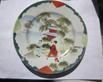 Vintage Japanese Geisha Plates, Set of 6 Plates