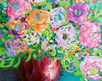 floral art, abstract floral, flower painting, colorful florals, boho home, vase of flowers, floral design