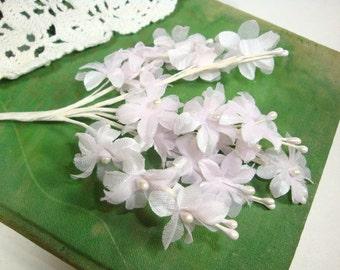 Vintage Millinery, Floral Pick,  Wedding Decoration, Hat Embellishment, Artificial Flowers, Pastel Pink, Purple, No. 6