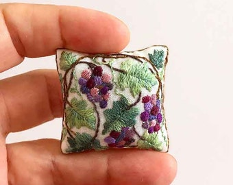 Miniature pillow. Hand embroidered Hand made