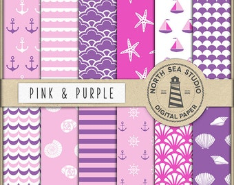 AHOI PARTY | Nautical Digital Paper | Purple And Pink Scrapbook Paper | Printable Backgrounds | 12 JPG, 300dpi Files | BUY5FOR8