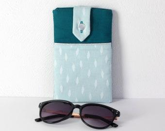 Étui à lunettes ou téléphone, coloris bleu clair et bleu canard