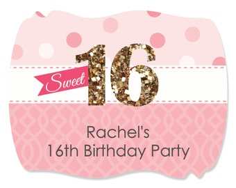 Sweet 16 Birthday Squiggle Stickers - Custom Do It Yourself Birthday Party Supplies - 16 Count