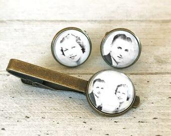 Pince à cravate et boutons de manchette ensemble, cadeau personnalisé pour le marié, personnalisé Photo pince à cravate, boutons de manchette de mariage, cadeau personnalisé, ensemble de souvenir de mariage