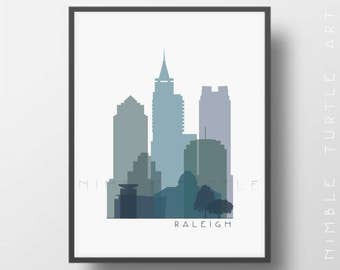 Raleigh Skyline Printable Download  -  Blue Purple Green -  Raleigh North Carolina Gallery Wall Art