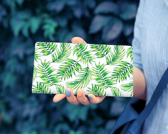 Floral Print Leather Wallet Travel Wallet Womans Wallet Slim Wallet Succulent Wallet Personalized Leather Wallet Credit Card Wallet YG1008