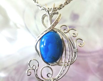 Blue Howlite Womans Pendant Wire Wrapped Jewelry Handmade in Silver With Free Shipping