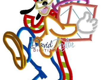 Goofy with Christmas Gift - Embroidery Machine Design - Applique - Instant Download - David Taylor Digitizing