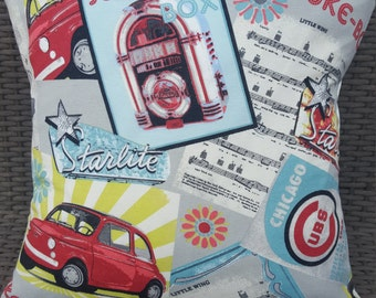 "Vintage Retro Juke Box Cotton Fabric Cushion Cover 16"" x 16"""