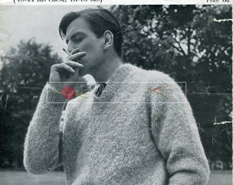 Men's V-Neck Sweater Mohair 40-44ins Sof-Touch 57 Vintage Knitting Pattern PDF instant download