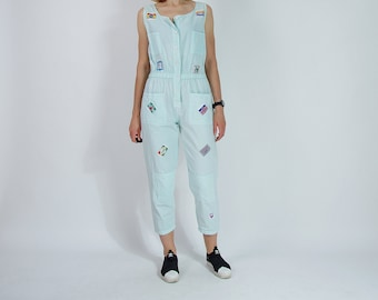 SALE 30% OFF 80s Style & Smile New York patched light mint street style women jumpsuit / size M