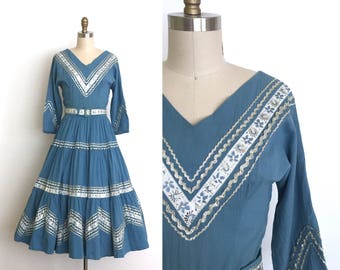 vintage 1950s dress | 50s cotton patio dress with matching belt